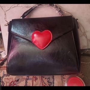 Pink Haley Red ❤ on black bag / crossbody new